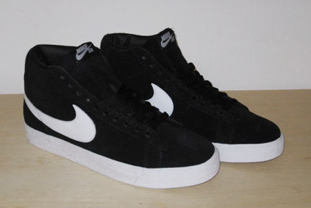 nike sb blazer high black white